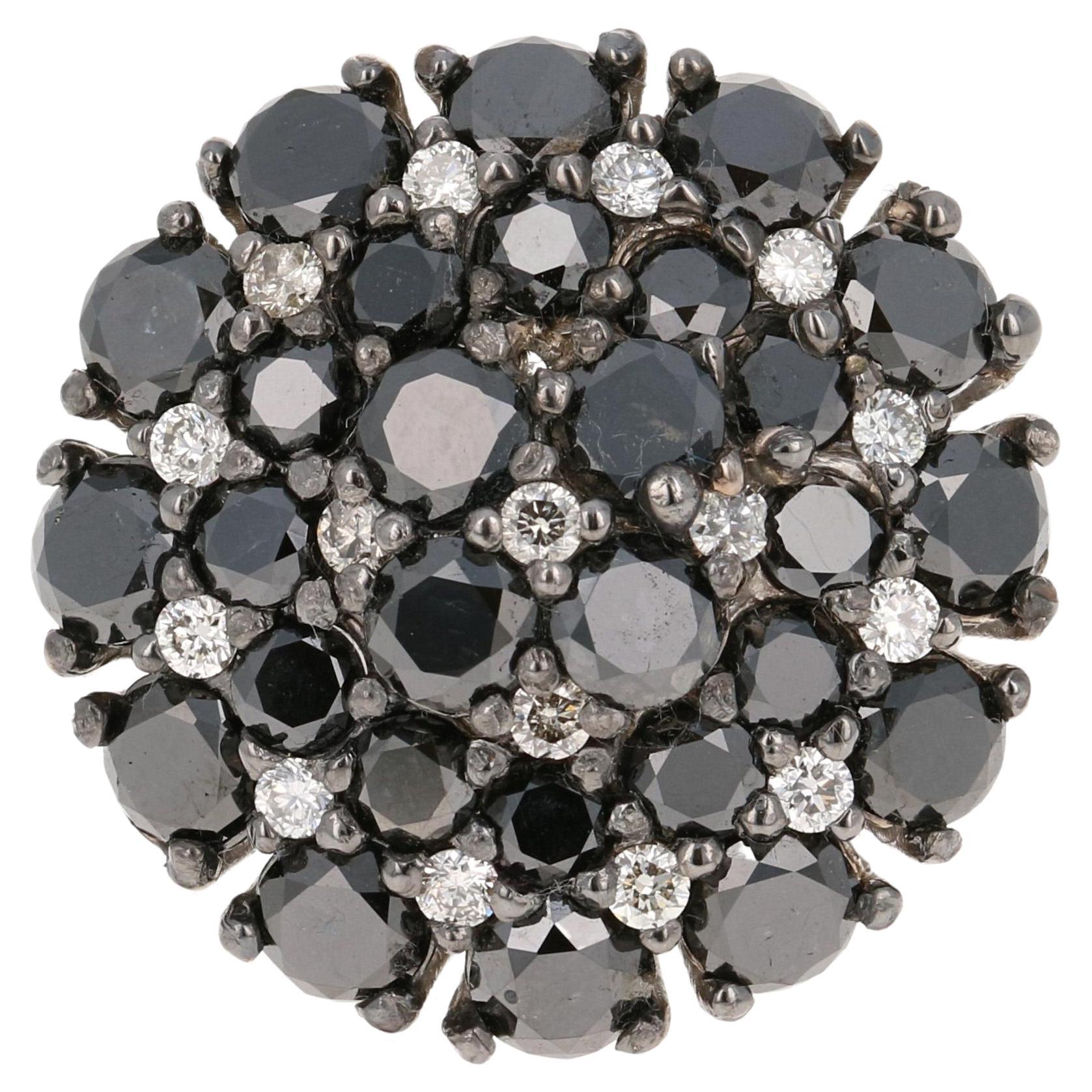2.65 Carat Black White Diamond 14 Karat White Gold Ring