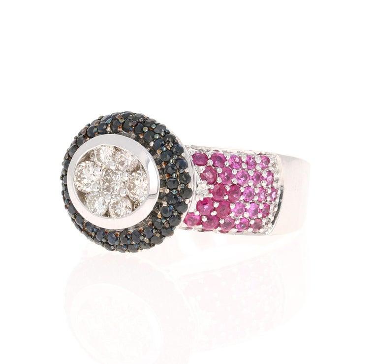 Contemporary 2.65 Carat Black White Diamond Pink Sapphire 14 Karat White Gold Cocktail Ring For Sale