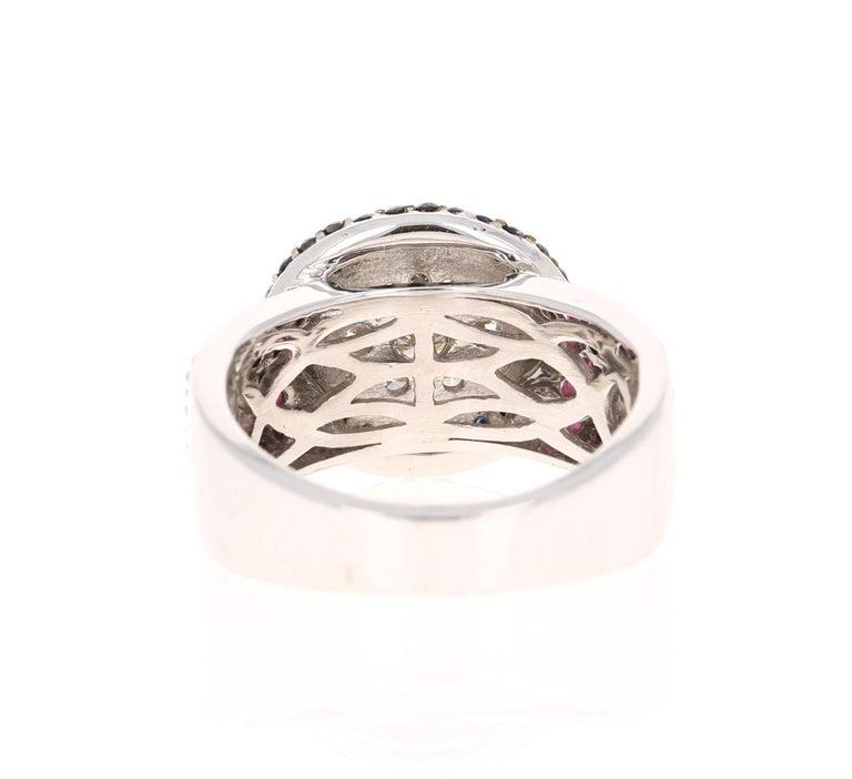 Round Cut 2.65 Carat Black White Diamond Pink Sapphire 14 Karat White Gold Cocktail Ring For Sale