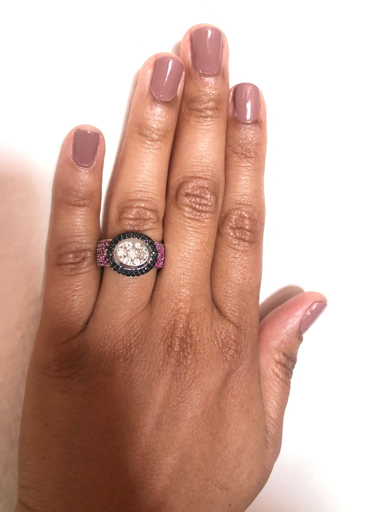 2.65 Carat Black White Diamond Pink Sapphire 14 Karat White Gold Cocktail Ring In New Condition For Sale In Los Angeles, CA