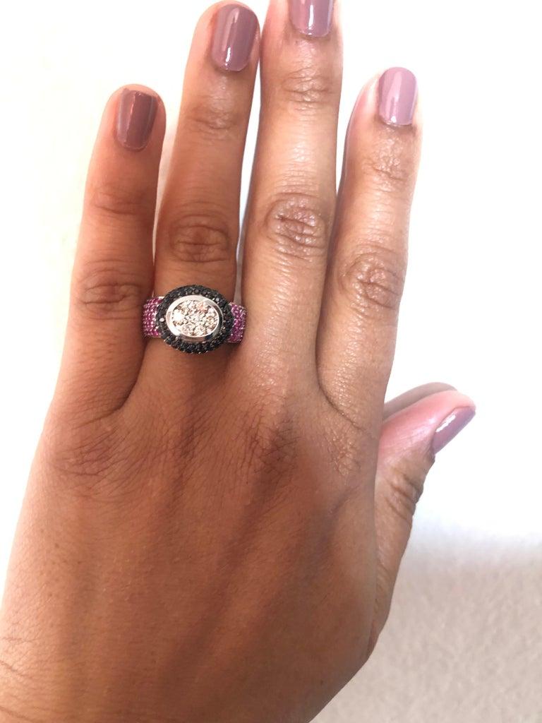 Women's 2.65 Carat Black White Diamond Pink Sapphire 14 Karat White Gold Cocktail Ring For Sale