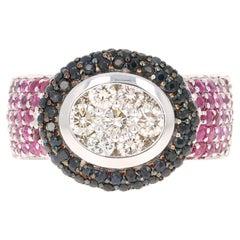 2.65 Carat Black White Diamond Pink Sapphire 14 Karat White Gold Cocktail Ring