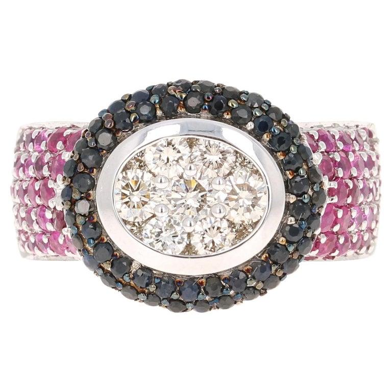2.65 Carat Black White Diamond Pink Sapphire 14 Karat White Gold Cocktail Ring For Sale