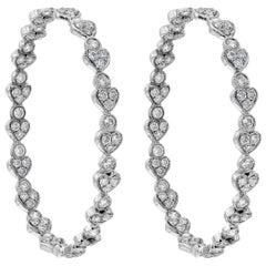 Roman Malakov, 2.65 Carat Diamond Heart Shape Hoop Earrings
