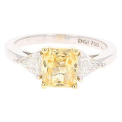 2.65 Carat GIA Certified Yellow Sapphire and Diamond 18 Karat White Gold Ring