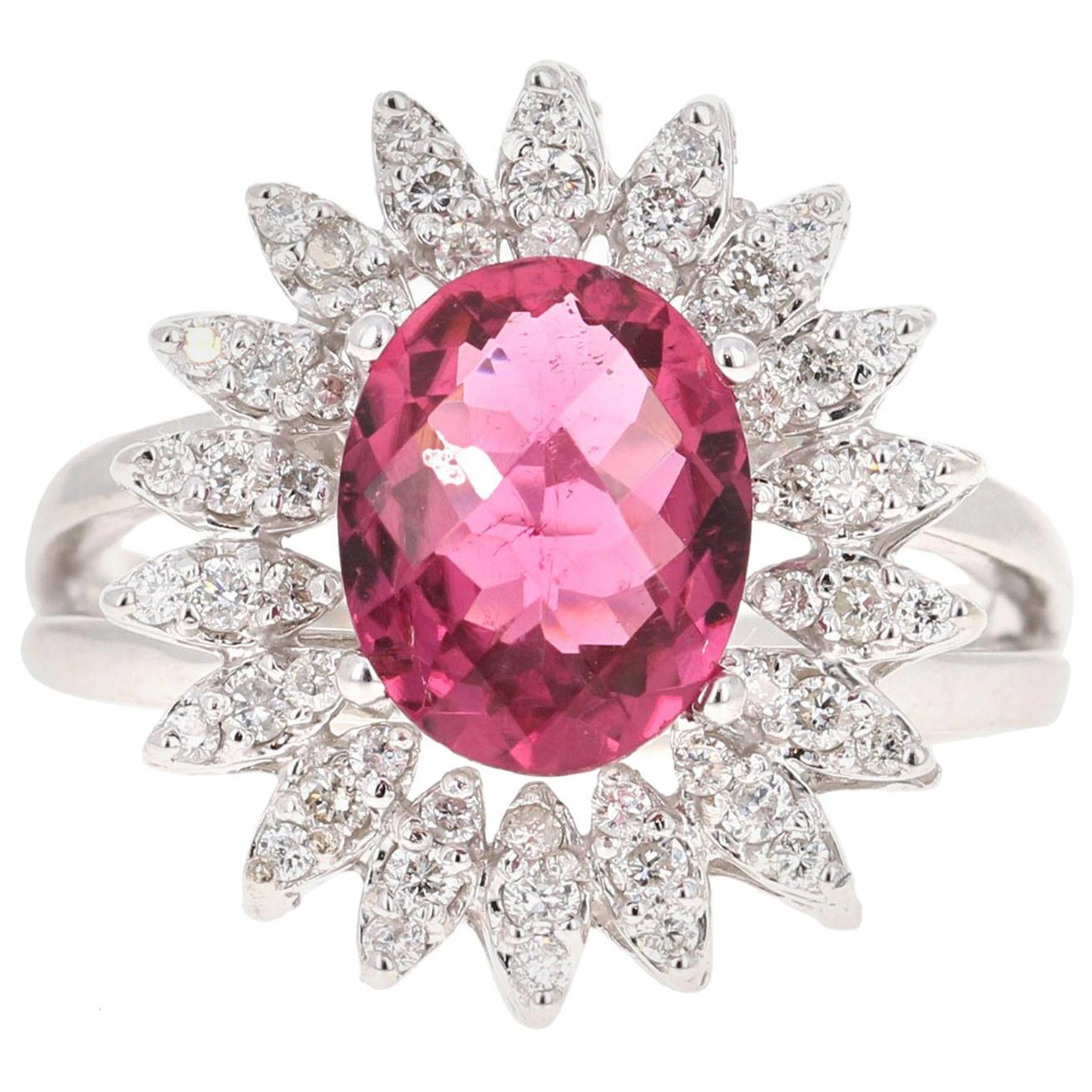 2.65 Carat Hot Pink Tourmaline Diamond 18 Karat White Gold Ring