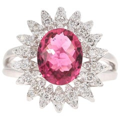 2.65 Carat Hot Pink Tourmaline Diamond 18 Karat White Gold Ring