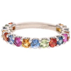 2.65 Carat Multicolored Sapphire 14 Karat White Gold Stackable Band