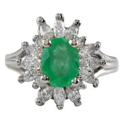 2.65 Carat Natural Colombian Emerald and Diamond 14 Karat Solid White Gold Ring