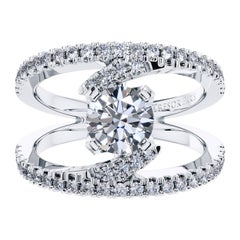 2.65 Carat Round Brilliant Diamond 18 KT White Gold Cross Over Engagement Ring