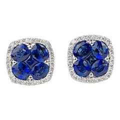 DiamondTown 2.65 Carat Sapphire and 0.26 Carat Diamond Stud Earrings