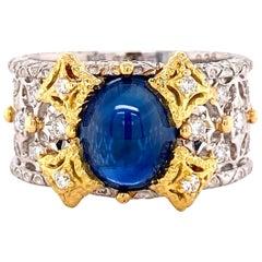 2.65 Carat Sapphire and Diamond Platinum Cocktail Band Ring Estate Fine Jewelry