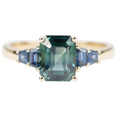 2.65 Carat Teal Blue Sapphire Engagement Ring 14 Karat Yellow Gold AD1872-2