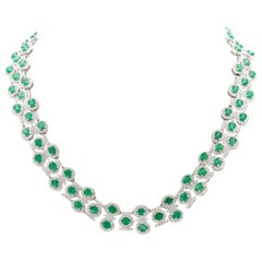 26.50 Carat Emerald Diamond Necklace