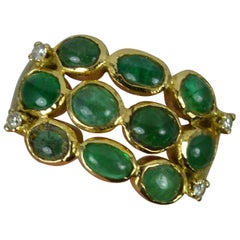 2.65ct Emerald Cabochon and 18ct Gold Cluster Band Ring