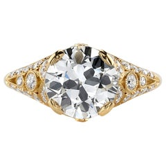 2.65 Carat M/SI1 GIA Certified Old European Cut Diamond in an 18 Karat Gold Ring