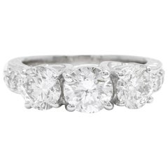 2.65 Carat Natural Three-Stone Diamond 18 Karat Solid White Gold Ring