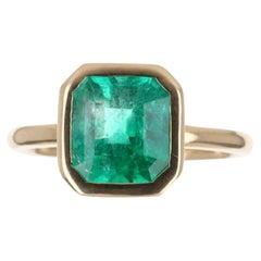 2.65cts 18K Bezel Set Colombian Emerald -Emerald Cut Solitaire Ring
