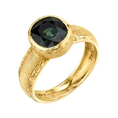2.66 Carat Green Sapphire Cushion Handmade Yellow Gold Bezel Signet Band Ring