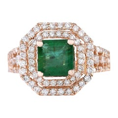 2.66 Carat Natural Emerald 18 Karat Rose Gold Diamond Ring