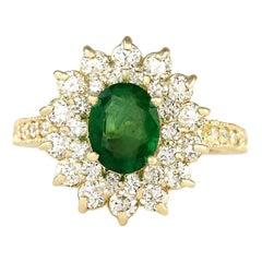 2.66 Carat Natural Emerald 18 Karat Yellow Gold Diamond Ring