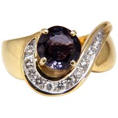 2.66 Carat Natural Vivid Purple Spinel Diamonds Swirl Ring 14 Karat
