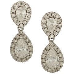 2.66 Carat Pear Shaped Diamond Drop Earrings in White Gold