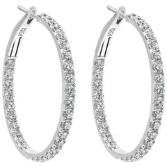 2.66 Carat Round Diamond Hoop Earrings in 18 Karat White Gold