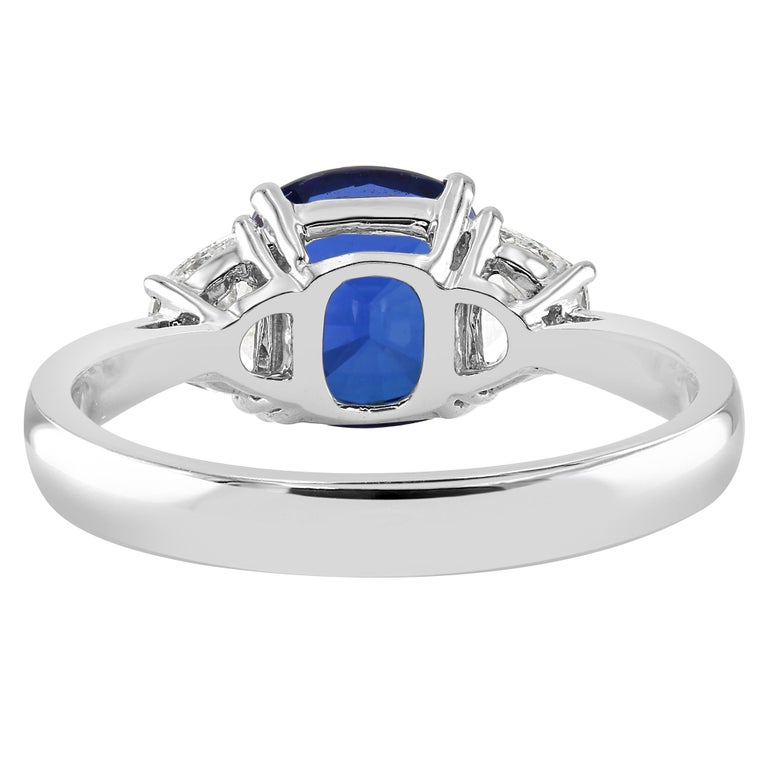 Cushion Cut 2.66 Carat Sapphire and Diamond White Gold Three-Stone Ring For Sale