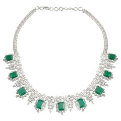 26.61 Carat Emerald 18 Karat White Gold Diamond Statement Necklace