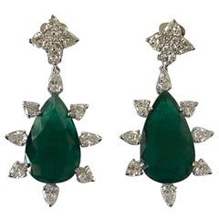 IMPORTANT 26.62 Carat Natural Colombian Pear Shape Emerald and Diamond Earring
