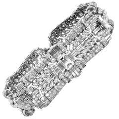 26.65 Carat Emerald Round Marquise Baguette Diamonds Platinum Retro Bracelet