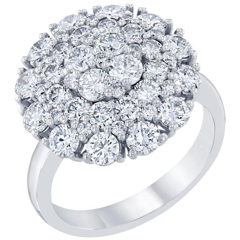 d912266095e0 2.67 Carat Diamond Cocktail 14 Karat White Gold Ring For Sale at 1stdibs