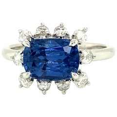 2.67 Carat GIA Certified Unheated Burmese Sapphire and Diamond Engagement Ring