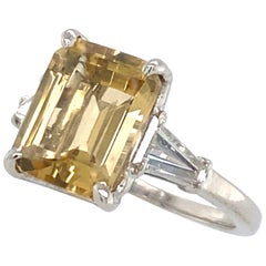 2.67 Carat Golden Beryl 'Heliodor' in Deco-Era Platinum and Diamond 3-Stone Ring