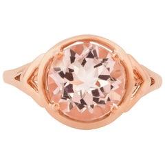2.67 Carat Morganite Ring in 18 Karat Rose Gold