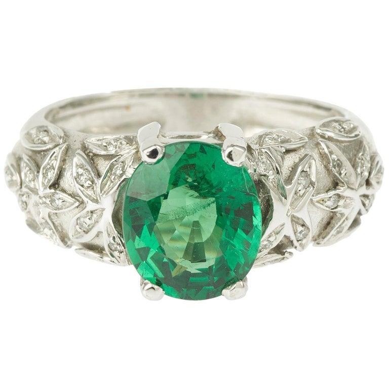 2.67 Carat Oval Tsavorite Garnet Diamonds 18 Karat White Gold Ring For Sale