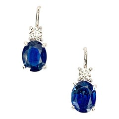 2.67 Carat Total Sapphire Oval Diamond White Gold Wire Drop Leverback Earrings