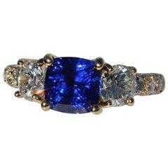 2.67 Carat Vivid Kashmir Color Blue No Heat Sapphire, Cocktail Ring