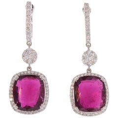 26.70 Carat Total Cushion Cut Rubelite and Diamond Earrings in 18 Karat Gold