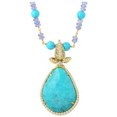 26.72 Carat Turquoise Tanzanite Diamond 18 Karat Gold Necklace