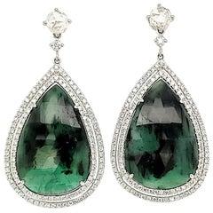 26.76 Carat Pear Shape Natural Emerald and Diamond White Gold Dangle Earrings