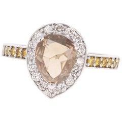 2.68 Carat Champagne Yellow Diamond 18 Karat White Gold Ring
