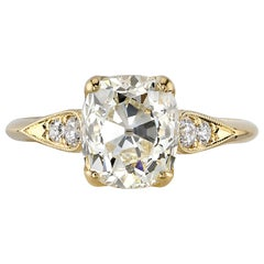 2.68 Carat Cushion Cut Diamond Set in a Handcrafted 18 Karat Yellow Gold Ring