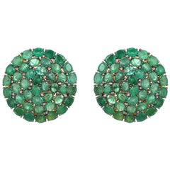 26.8 Carat Emerald Diamond Fluid Stud Earrings