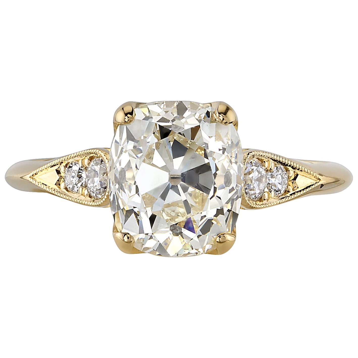 Handcrafted Amanda Cushion Cut Diamond Ring by Single Stone