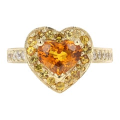 2.68 Carat Orange Sapphire Diamond Engagement 18 Karat Yellow Gold Ring