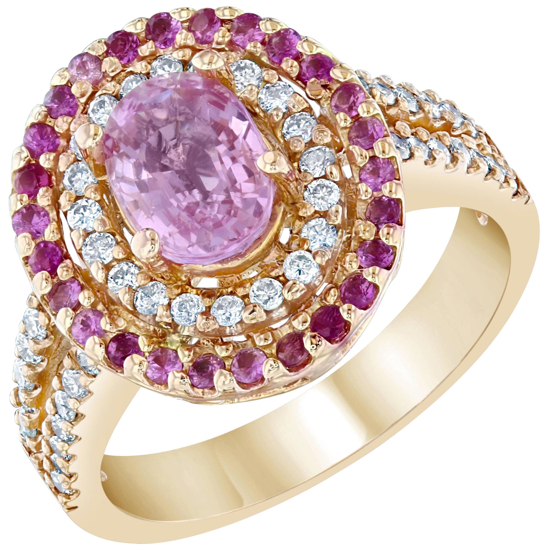2.68 Carat Pink Sapphire Diamond 14 Karat Rose Gold Ring