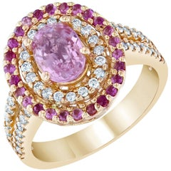 2.68 Carat Pink Sapphire Diamond 14 Karat Rose Gold Ring