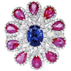 2.68 Carat Red Hot Ruby 1.21 Carat Blue Soothing Sapphire Cocktail Ring